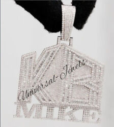 5.5ct Baguette And Sim Diamond Menand039s Personalize Word Pendant 925 Silver Free Stud
