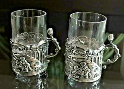 Stunning Antique Pair Sterling Silver Shot Glass Holders W/cut Crystal Cup Rare