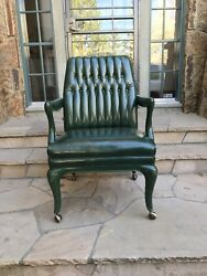 Monteverdi Young Rare Vintage Tufted 80's 90's Green Tufted Office Chair Wheels