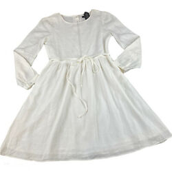 ROOLEE Size Small Women#x27;s White Long Sleeve Dress Tie at Waist Cottagecore $24.63