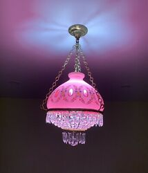 Vintage Crystal Bohemian Pink And White Triple Glass Ceiling Light Chandelier
