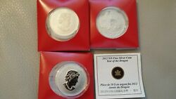 2012 Canada 10 9999 Silver Coin Year Of The Dragon Coa - 3 Coins Mint