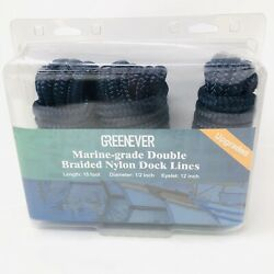 Dock Lines For Boats-3 Pack 1/2 X 15' Boat Ropes Double-braided Mooring Marine