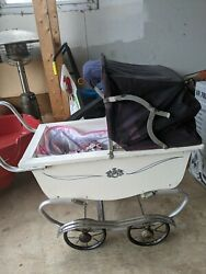 Vintage Antique Crown Blue And White Baby Doll Stroller Carriage