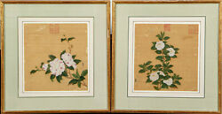 A Pair Framed Chinese Qing Dynasty Painting On Silk, Seal Marks 1.