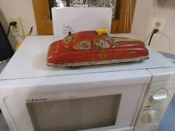 Vintage Linemar Marx Tin Toy Wind-up Fire Dept Chief Car