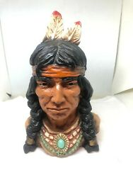 Vintage Bust Indian Chief Universal Statuary Corp Chicago 1966 320 Resin