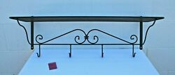 Longaberger Wrought Iron 32 Wall Shelf With Coat Hooks - Foundry Collection