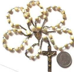 ⭐ Antique Rosaries Rosary Beads ✞ French First Communion ☧ Catholic Mother Pearl