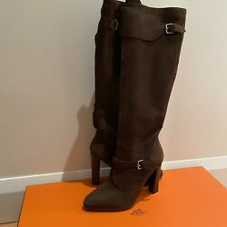 2670 New Hermes Leather Trophee Marron Boots W/stainless Steel Buckle Size 37.5