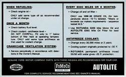 Macs Auto Parts Ford Pickup Truck Service Specifications Decal 48-47377-1