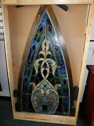 295/222 Cathedral Stained Glass Window 61 Estimated Height X 33 Base Width