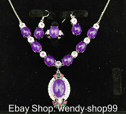Natural Purple Jade Inlay Crystal Silver Bracelet Necklace Earring Ring Set