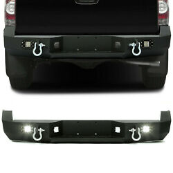 Hecasa Black Rear Bumper For 05-15 Toyota Tacoma W/license Plate Led Lights
