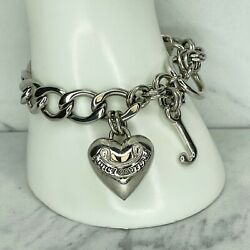 Juicy Couture Vintage Silver Tone Heart Charm Chain Link Toggle Bracelet