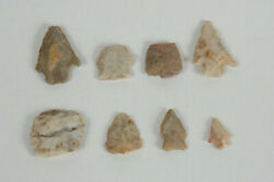 Authentic Mixed Lot Of 8 Arrowheads Spearpoints Scraper Native American Midwest