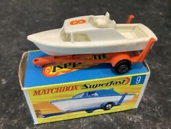 Matchbox Moko Lesney Superfast 9 Boat And Trailer Rare White With Number 8