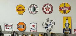 Vintage Porcelain Sign Collection 9 Signs - Gulf, Shell, Mobile, , And More