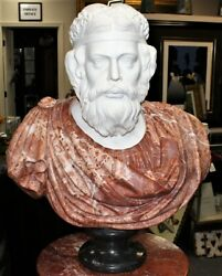 Roman Life Size Hand Carved White And Red Alicante Italian Marble Bust Statue