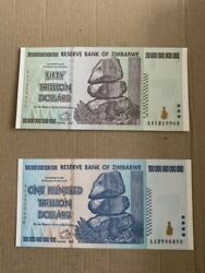 Pair Of Zimbabwe 50 Trillion And 100 Trillion Dollar Notes Uncirculated.