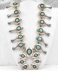 Vintage Native American Huge Sterling Silver And Turquoise Squash Blossom Necklace