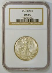 1941-d Uncirculated Walking Liberty Half Dollar Silver Coin Graded Ms65 By Ngc
