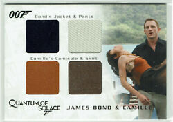 James Bond Archives 2009 Relic Costume Card Qc27 Bond And Camille Quad Card176/425