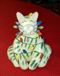 Signed Amy Lacombe Christmas Tree Cat Sparkie Whimsiclay