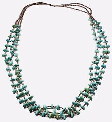 Stunning Vintage Santo Domingo Turquoise Sterling Silver Heishi Necklace
