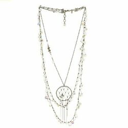 Cc Dream Catcher Necklace Crystal Embellished Metal With Beads
