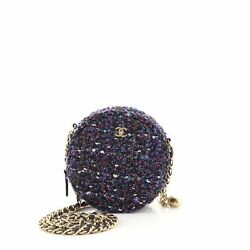 Charm Round Clutch With Chain Quilted Tweed