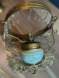 Antique Victorian Hanging Oil Lamp And Font Prisms