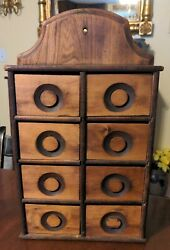 Antique Wall Spice Cupboard Kitchen Wood Hanging Drawers American Country