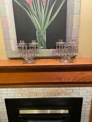 Beautiful Pair Heisey New Era Art Deco Glass Candlesticks Bobeches And Prisms