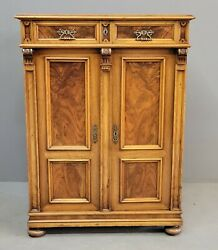 Antique Mid 1800s Austrian Walnut And Burl Cabinet With Period Hardware