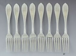 8 Antique 1850s And Co Sterling Silver Bead Forks 7 Heavy Weight