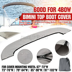 4 Bow Bimini Top Boot Cover Bag Sock Marine Boat For 67-103 Wide Shade Canopy