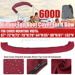 4 Bow Bimini Top Boot Cover Storage Marine Boat For 67-103 Wide Shade Canopy
