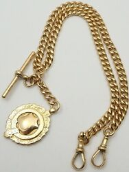 Antique 17 Inch 9ct Rose Gold Double Albert Pocket Watch Guard Chain 51.7 Grams.