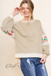 Umgee Top Floral Embroidered Lace Shoulder Sleeve Waffle Knit Hem Long Sleeve