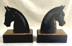 Pair Of Heavy Vintage Hand Carved Black Stone/marble And Brass Horse Head Bookends