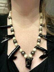 Big 20 Native Hawaiian Black Coral Mother Of Pearl Carved Serpent Head Necklace