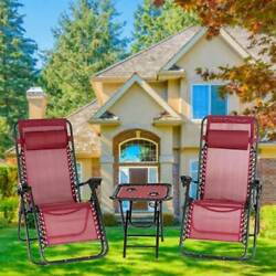 3 Pc Zero Gravity Chairs Set Outdoor Patio Folding Lounge Recliner W/ Side Table