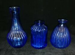 Vintage Small Cobalt Blue Mold Blown Ribbed Glass Bottles X 3 Pre-owned