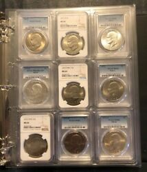 Eisenhower Dollar Complete 34-coin Certified Collection [free Shipping]