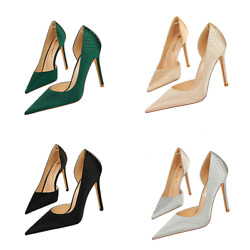 Sexy Women Stiletto Heels High Pointed Toe Snake Check Dand039orsay Pumps Party Shoes