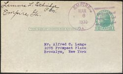 Postal Reply Card1930 One Centempire Ga. Charter Repealed In 1995