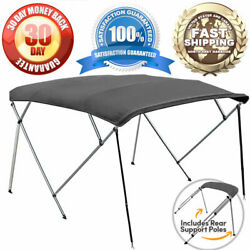 Grey 4-bow 1 Frame Bimini Top Cover Boat 8and039l X 54h X 73-78w - Storage Boot