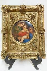 Antique Italian Hand Painted Porcelain Of Madonna And Child In Carved Gilt Frame