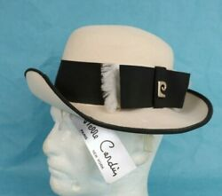 Vintage 1970/80s Womens Pierre Cardin Ivory And Black Wool Hat By Excello Nwt Usa